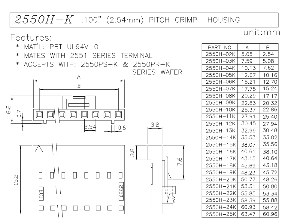 2.54 pitch wire connector socket data sheet