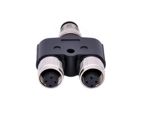 M12 Y Splitter, Molded Male Female 3 ways Coupler