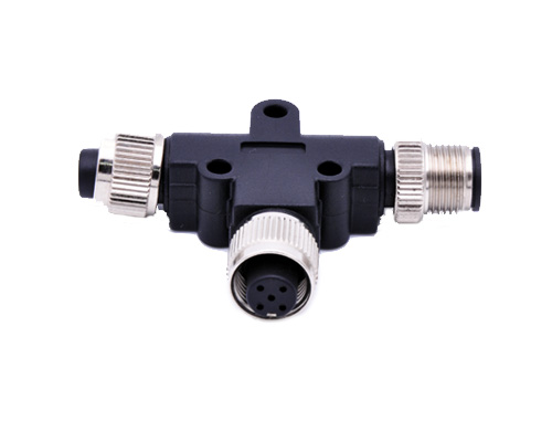 M12 T Coupler, Female-Male-Female Connector, 3 ways Splitter