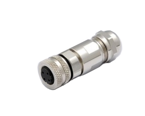M12 4 pin D Code Female Connector with Assembly Metal Shell