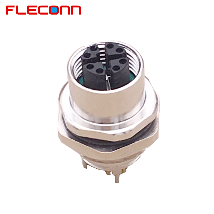 Front Panel Mount 8 Pin Female M12 X-Code Connector