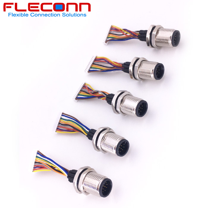 m12 12 pin connector to molex picoblade 12 circuits wire harness with  ul1571 28awg single wires