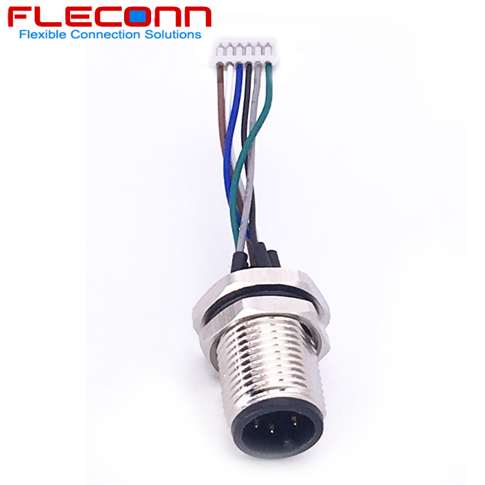 M12 6Pin Male Panel Mount Connector with Single Wires, fixing thread M12x1