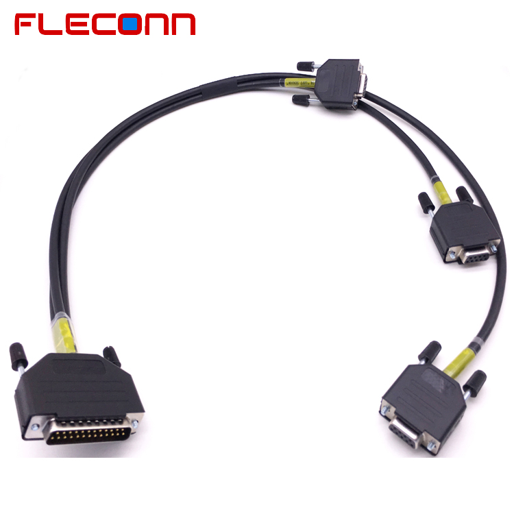 1 Male DB25 to 3 Female DB9 Connector Cable Harness Splitter
