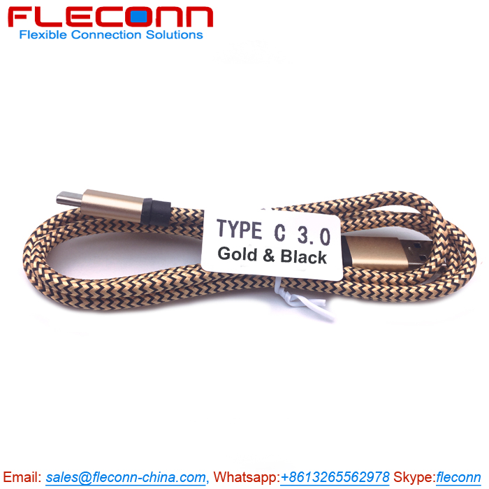 USB to USB C Cable on FLECONN, Golden Nylon Braided USB-C Cable.jpg