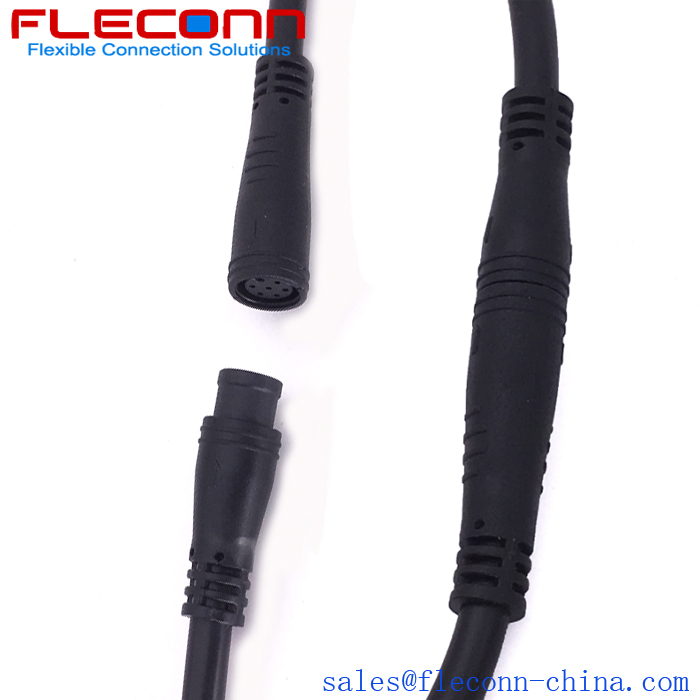 IP67 6 Pole M8 Male Female Waterproof Cable for Outdoor LED Street Light