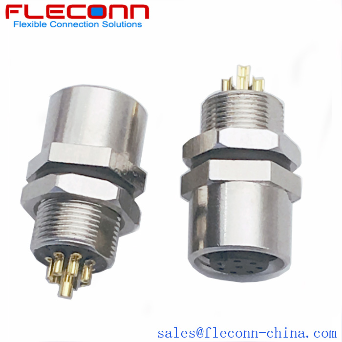 FLECONN can supply m8 female panel mount connector, front mounting, 3 4 5 6 8 pin.
