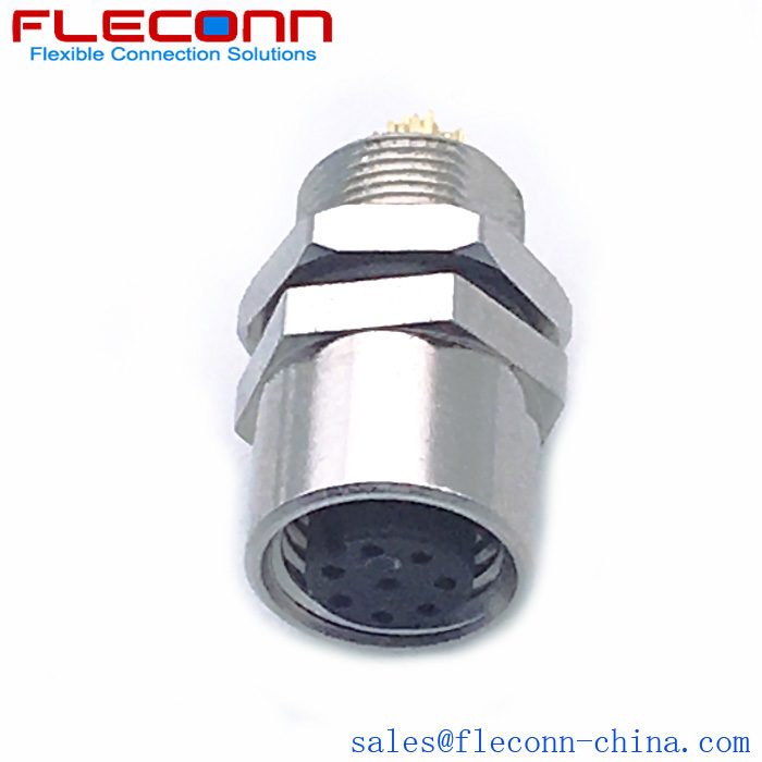 FLECONN can supply M8 8 Pin Female Panel Mount Connector, Rear Fastening Thread M8x0.5.