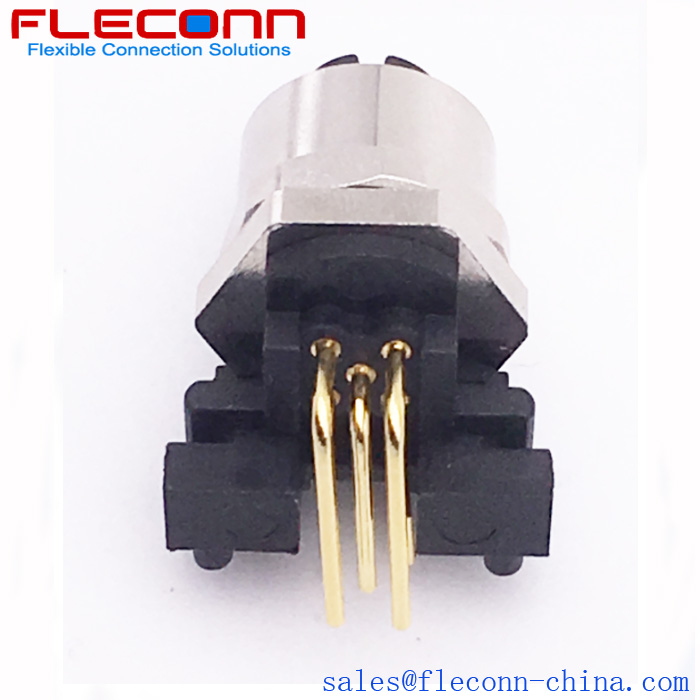 M12 5Pin Female 90 Degree Angled PCB Panel Mount Connector, DIP Solder receptacle in FLECONN China Comany.