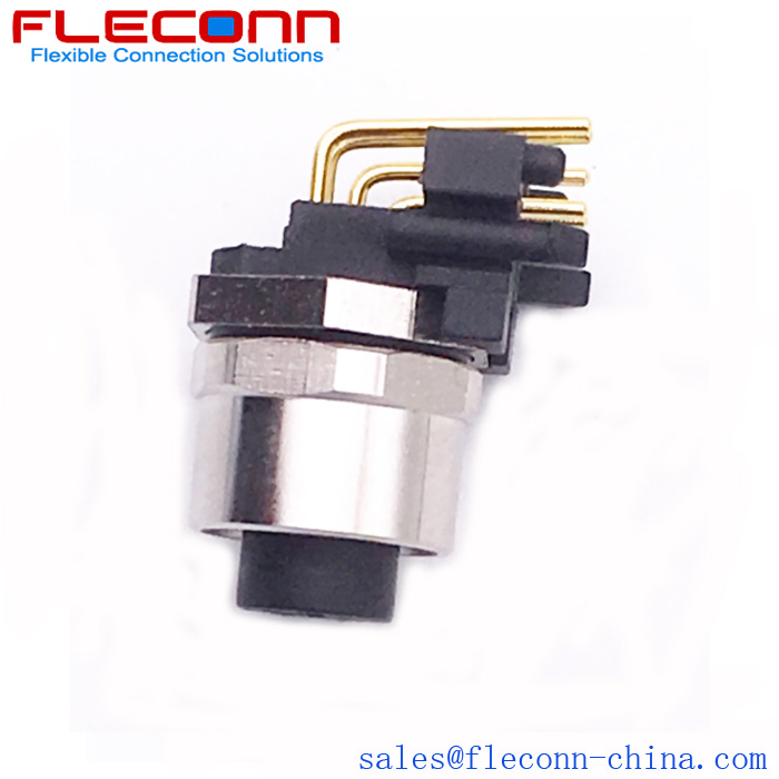 M12 A-code Right Angle PCB Panel Mount Connector, Back Mounting receptacle in FLECONN China Comany.