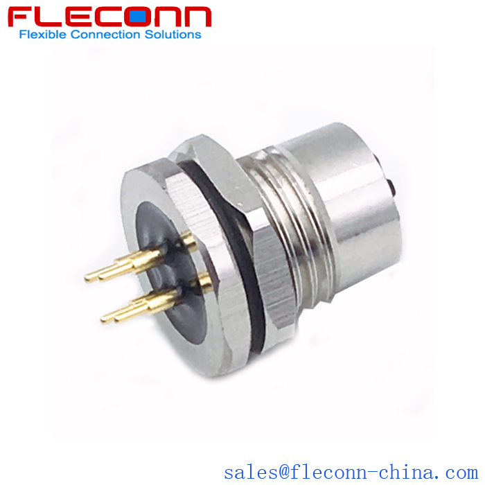 M12 D-code Female Connector, 4 Positions, PCB Panel Mount, Front Nut Locking Thread M16X1.5