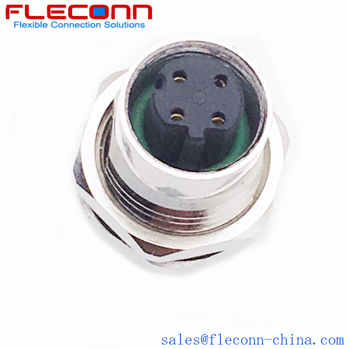 M12 D-Coded Ethernet Connector, 4 Pin Female PCB Panel Mount Socket Supplier and Manufacturer in China