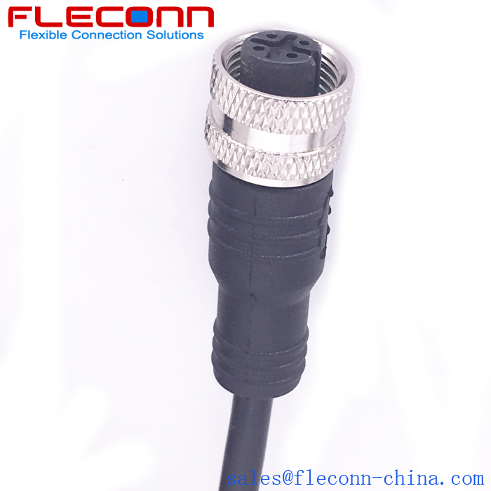 M12 4 Pin Cable, Female Straight Socket to Single-Ended Cordset