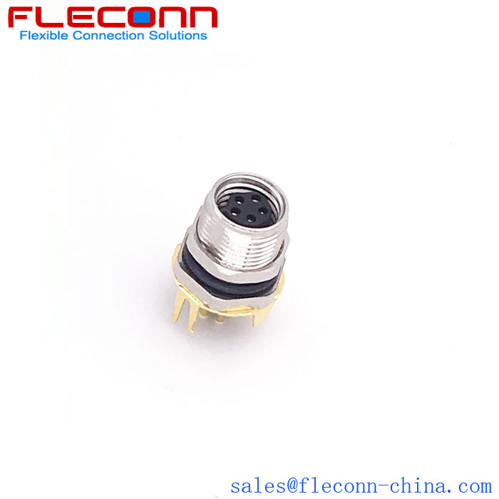 FLECONN can supply m8 3,4,5,8 pin a-coded female straight pcb panel mount connector.