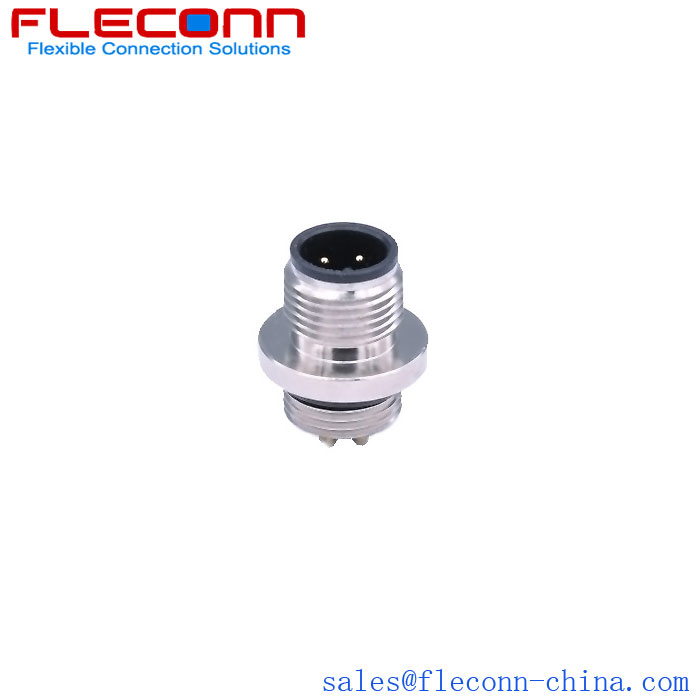 M12 4 Pin A Coding Connector, Male Plug, Rear Mounting Thread M12x1
