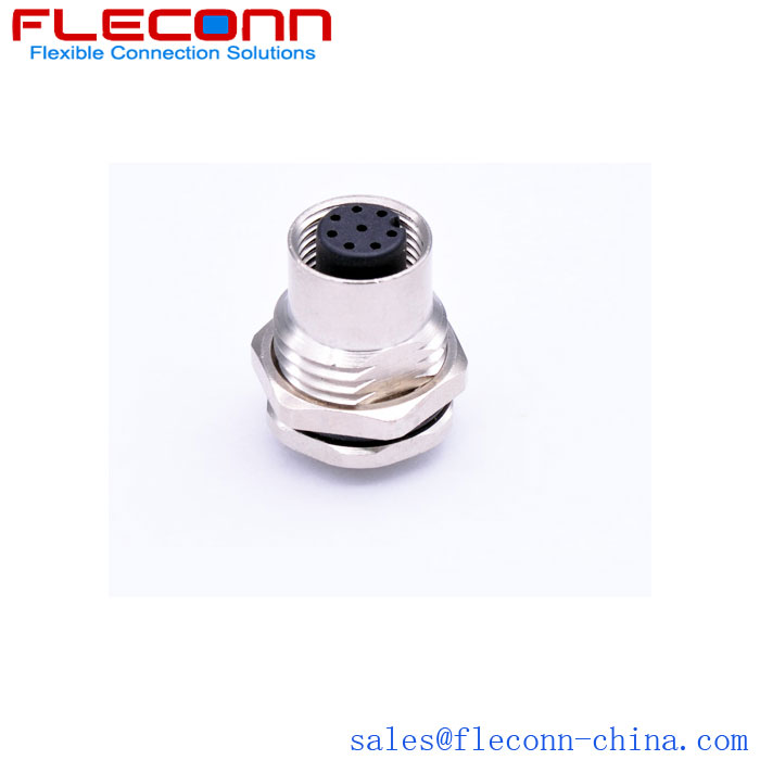 M12 8 Pin Female Panel Mount Connector, Screwed from Front, PG 9 / M16 x 1.5 Fixing Thread